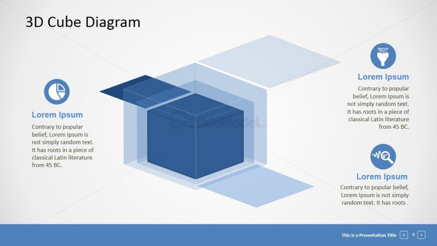 PowerPoint 3D Cube Shapes Three Layers