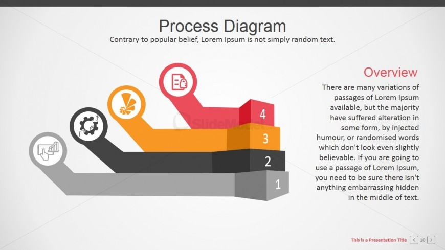 3D Flat Design Stages Diagram for PowerPoint