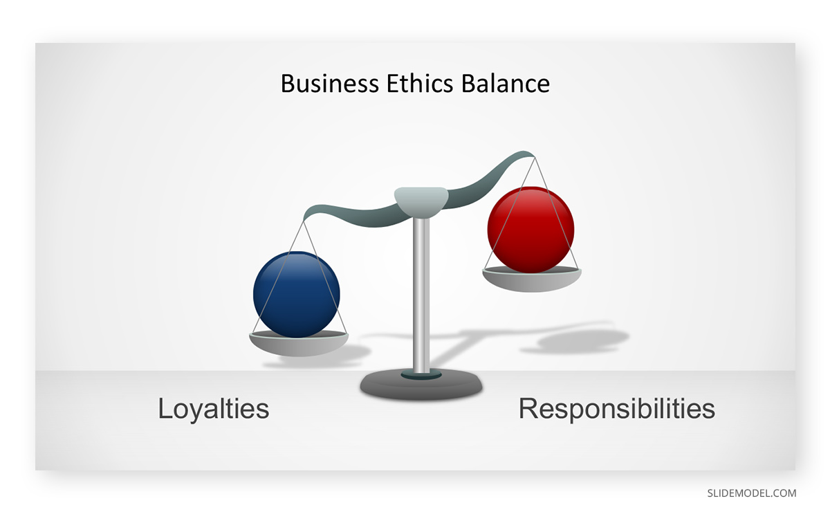 Weight Scales Business Ethics PowerPoint Template
