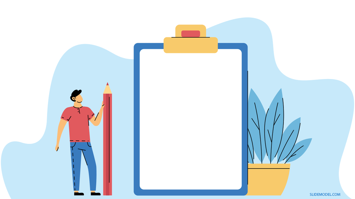 Case Study Man With Giant Clipboard PPT Template