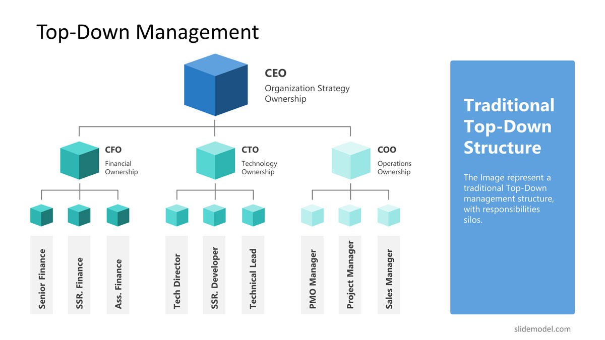 Top-down management structure PowerPoint template