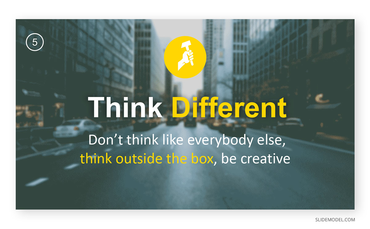Powerful Words Think Different PPT Template