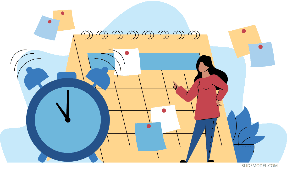 Time Management Woman with Calendar PPT Template
