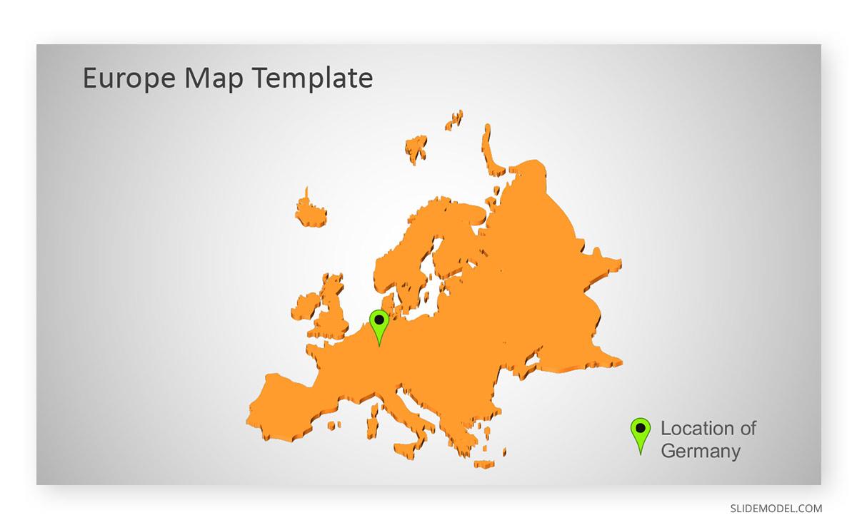 Europe Map No Borders Orange PPT Template