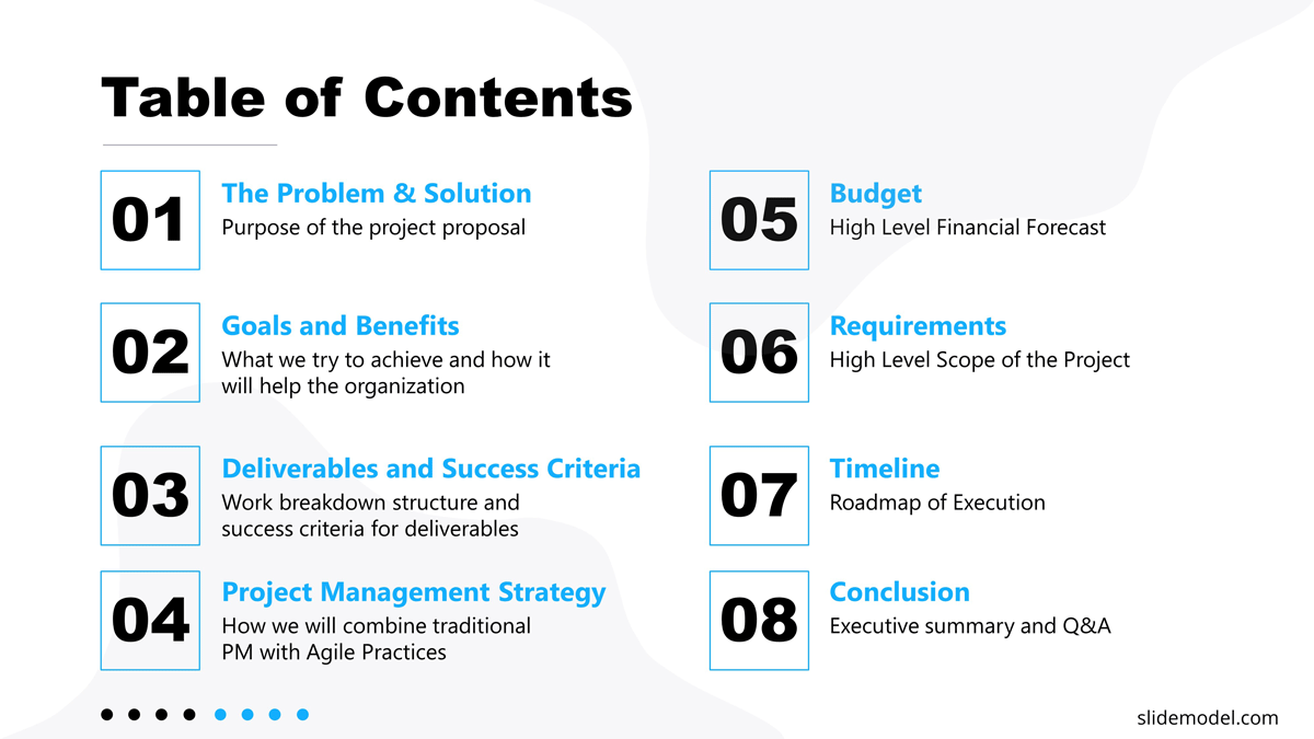 Project Proposal Template Table of Contents Slide