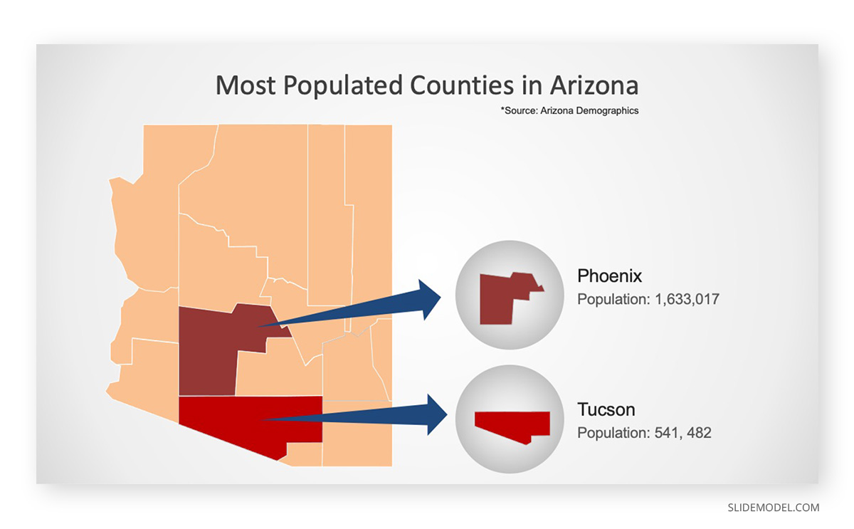 Map of Arizona PPT Template
