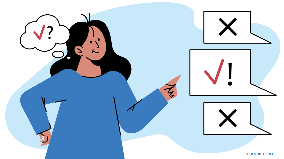Woman with Checks Confirmation Cognitive Bias PPT Template