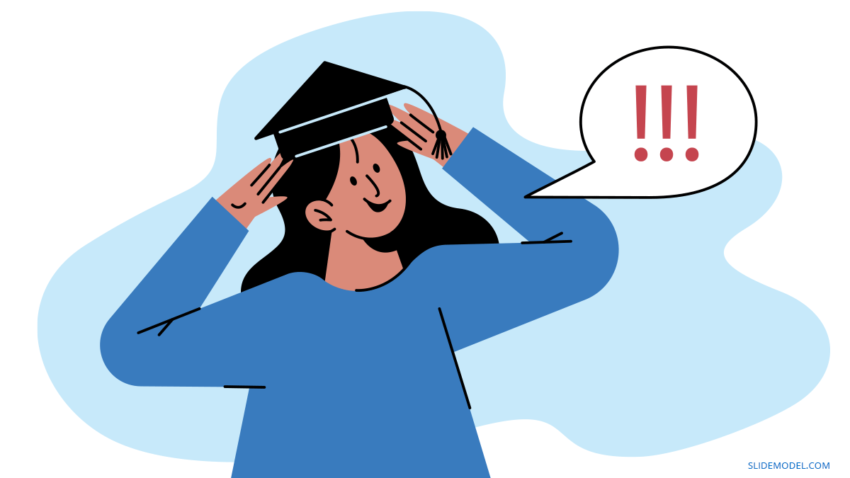 Woman with Graduation Hat Dunning Kruger Cognitive Bias PPT Template