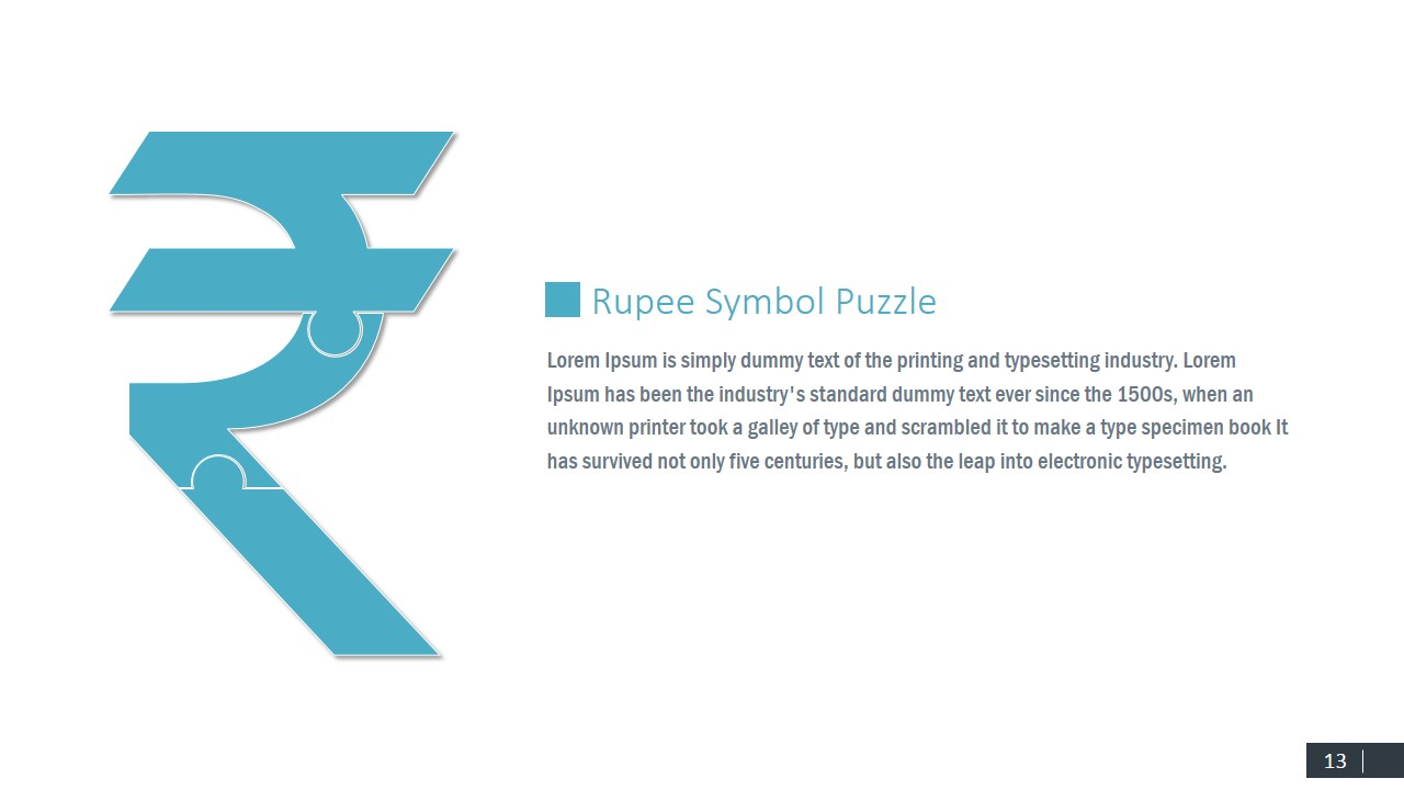 Puzzle Jigsaw Indian Rupee Currency Symbol
