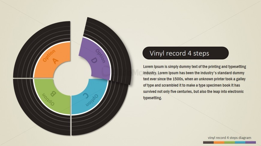 Four Steps Vinyl Record PowerPoint Diagram