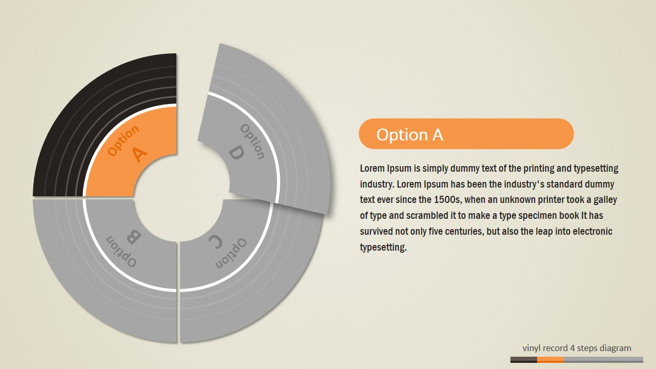 PowerPoint Diagram Featuring 4 Steps Vinyl Record