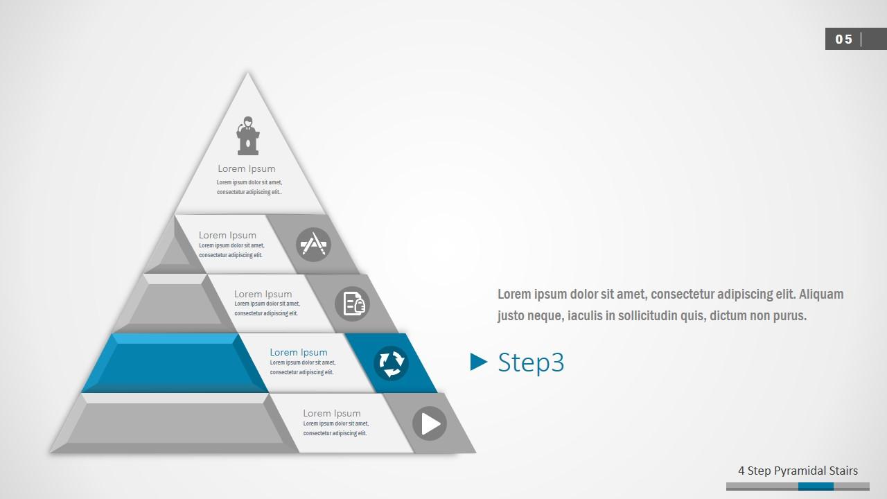 PPT Four Segments Pyramid Diagram Template