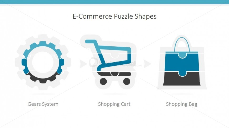 PowerPoint Template ECommerce Jigsaw Puzzle Shapes