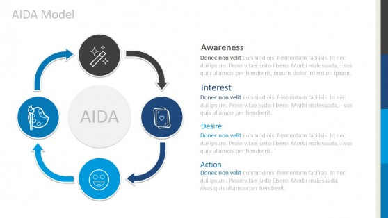Four Steps AIDA Marketing Model for PowerPoint