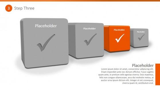 PowerPoint Diagram 4 Steps 3D Checklist