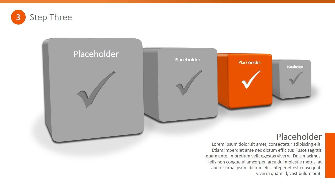 PPT Diagram Four Steps 3D Checklist