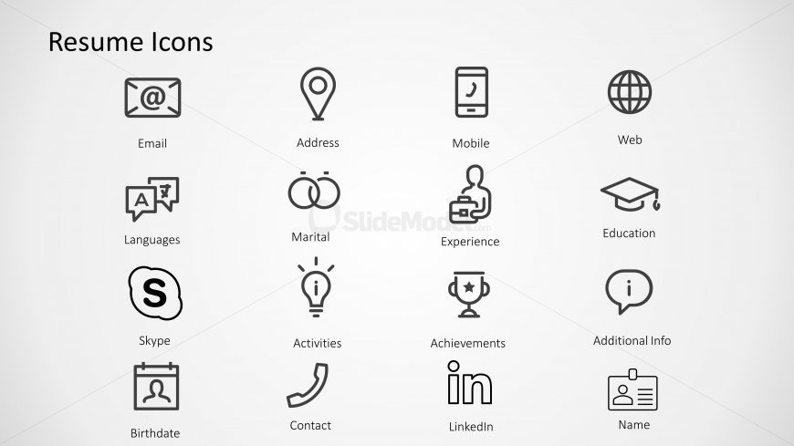 PPT Icons for Resume and CV's