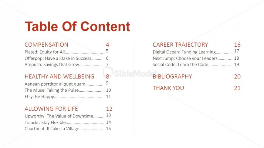 PPT Table of Content Slide Design