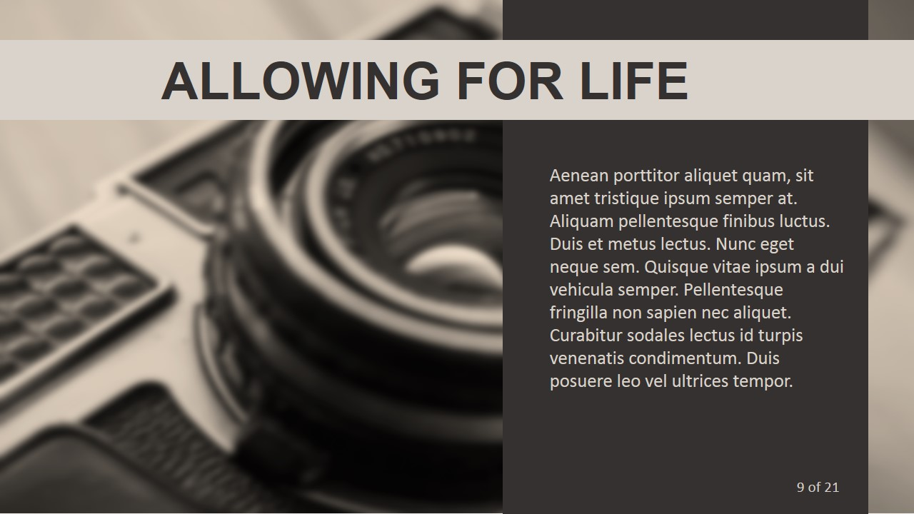 PPT Template with Film Camera Background