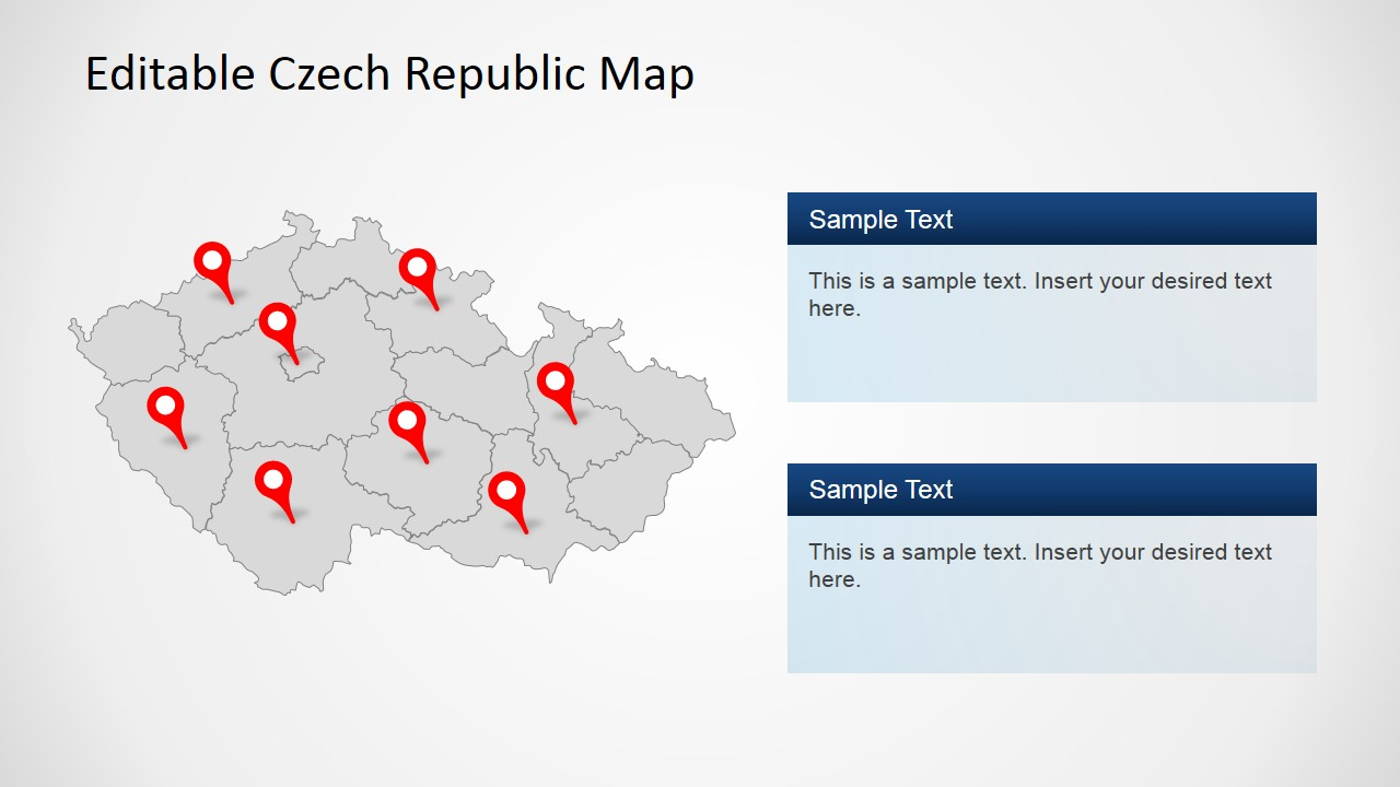 PPT Greyed States of Czech Republic PowerPoint Map