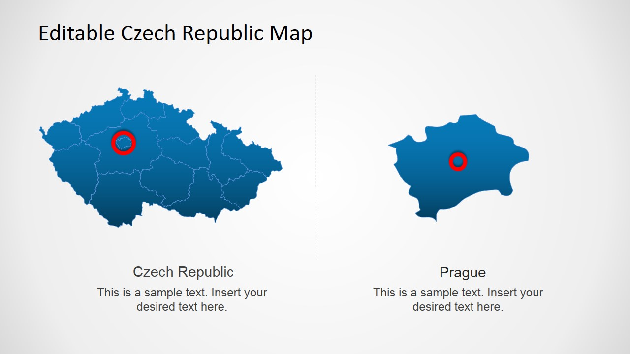 PPT Map of Czech Republic with City Marker