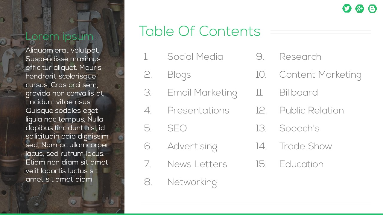 List Of Tools Powerpoint Templates