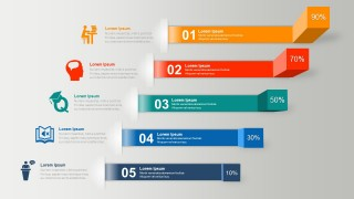 3D Horizontal Steps Infographics PowerPoint