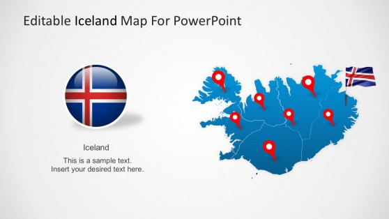 Iceland Map For PowerPoint With Country Flag
