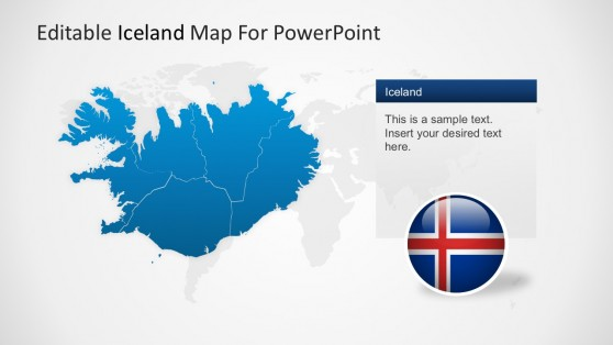 Iceland Map Land Regions For PowerPoint