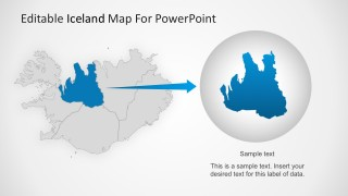 Flat Design Country Map For Iceland PowerPoint