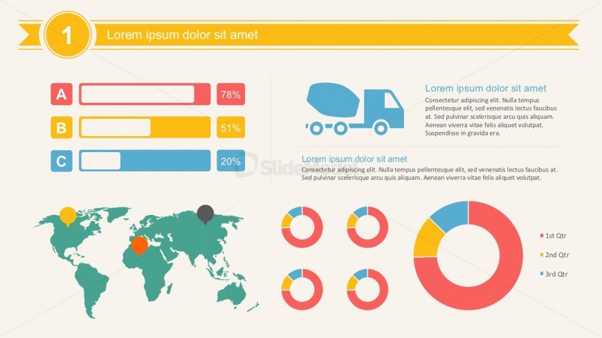 Cargo Truck Infographics With Map And Data Charts