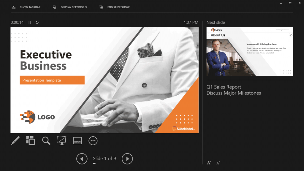 Speaker Notes enabled in PowerPoint Presenter View Mode