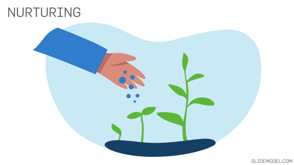 The Nurturing & Follow Up Stage with an image of a man nurturing a plant metaphor.