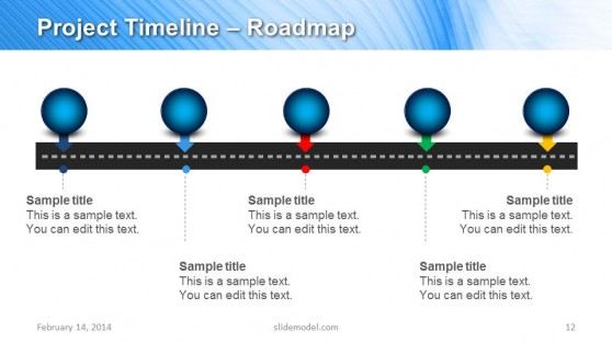 Horizontal Project Timeline Slide Design for PowerPoint