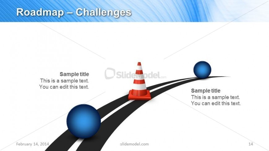 Roadmap Challenges Timeline Design with Traffic Cone & Spheres
