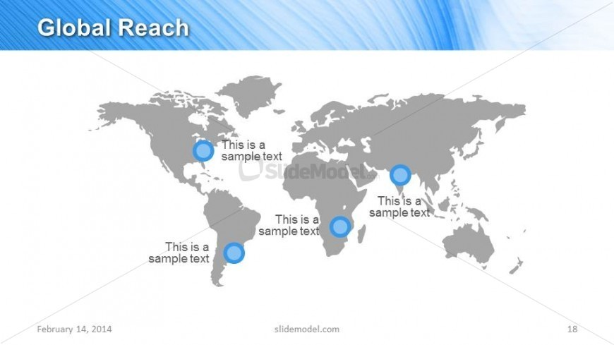 World map powerpoint slide design for global reach slidemodel world map powerpoint slide design is a creative slide design for marketing powerpoint presentations that you can use to describe your global reach gumiabroncs Image collections
