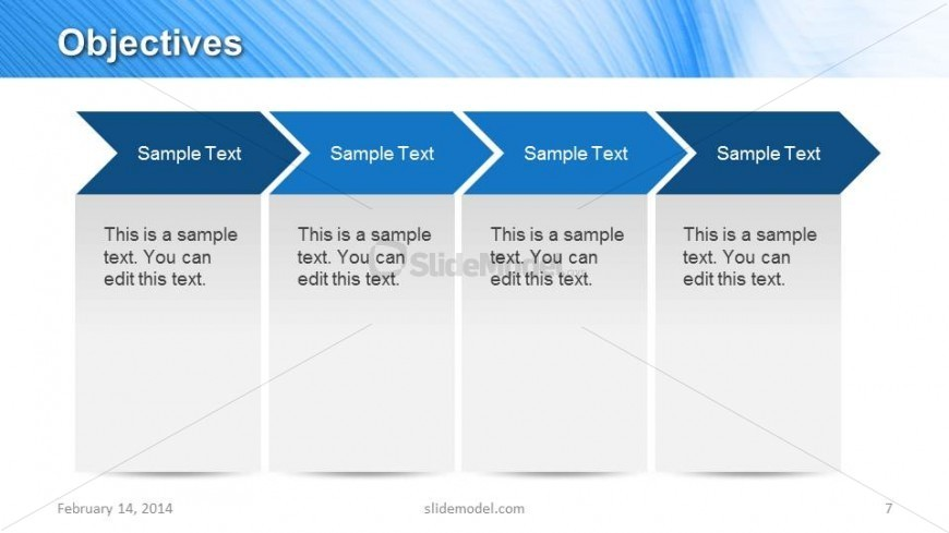 4 chevron arrows for objectives slide design in powerpoint, Presentation templates