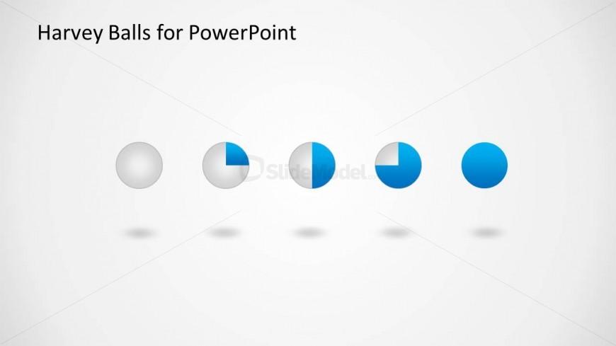Five Harvey Ball PowerPoint Slide Design with 3D design