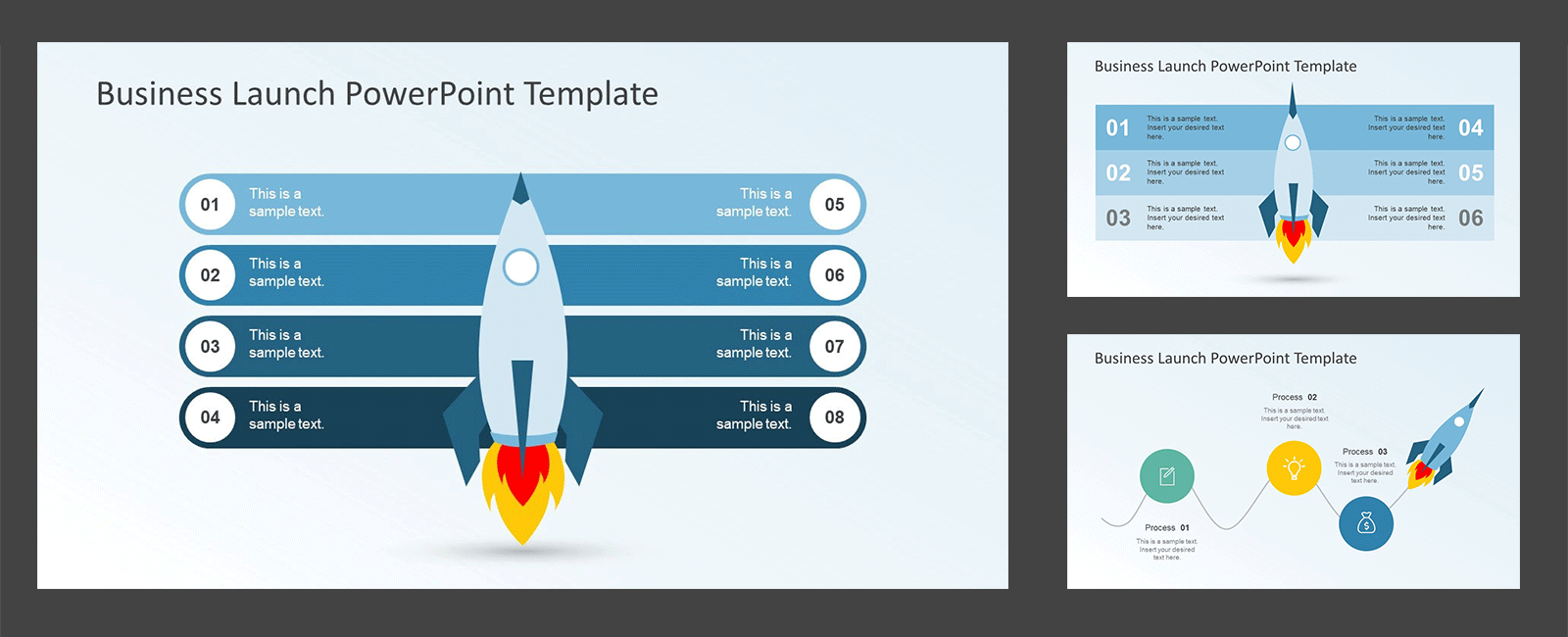 Business Rocket Timeline Vertical PPT Template