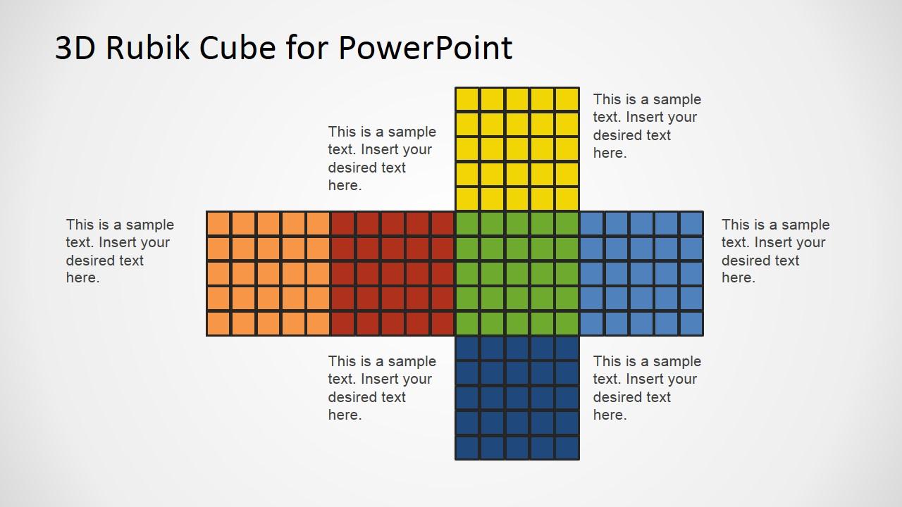 rubik's cube flat design of faces - slidemodel, Modern powerpoint