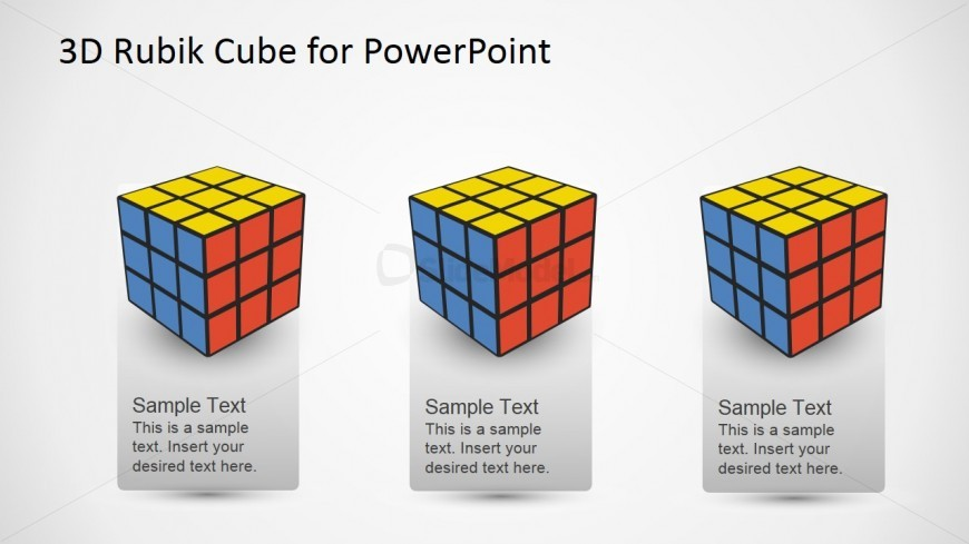 PowerPoint Diagram Featuring three Rubik's Cubes