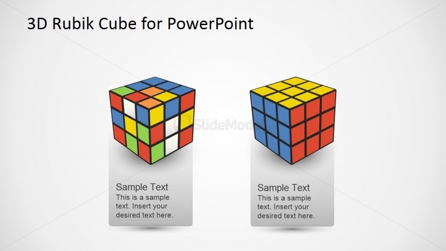 PowerPoint Shapes of Solved and Unsolved Rubik's Puzzle