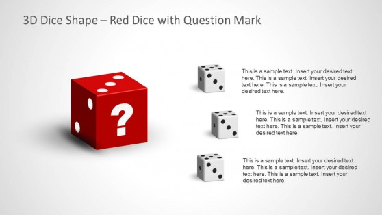 4 Dices for PowerPoint with Question Mark