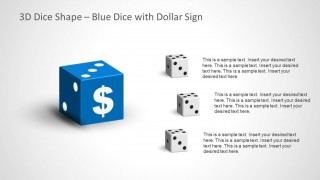3D Dice Shape for PowerPoint with Dollar Sign