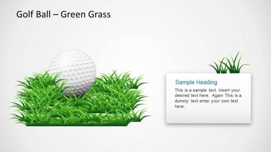 Golf Ball Template for PowerPoint Slide Design with Green Grass