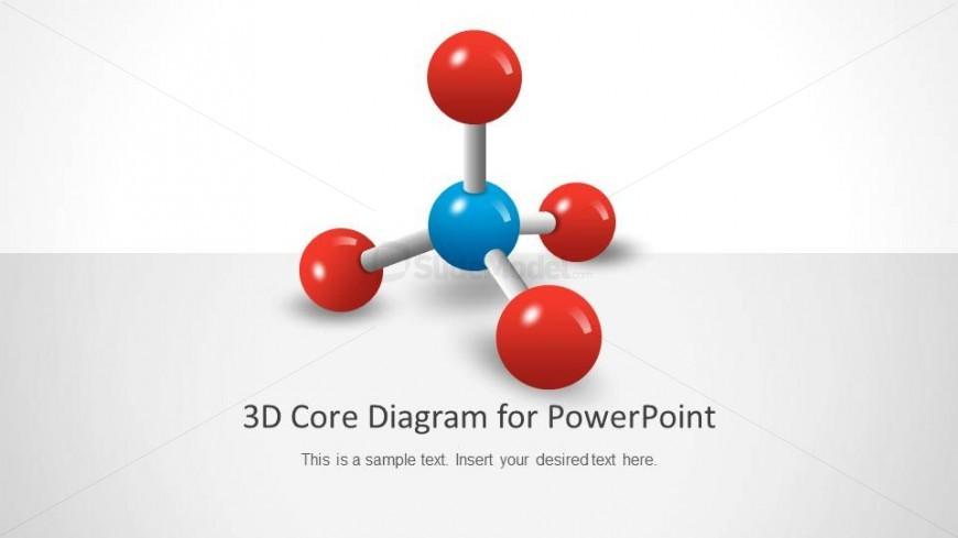 PowerPoint 3D Molecule Diagram With 4 Vertex