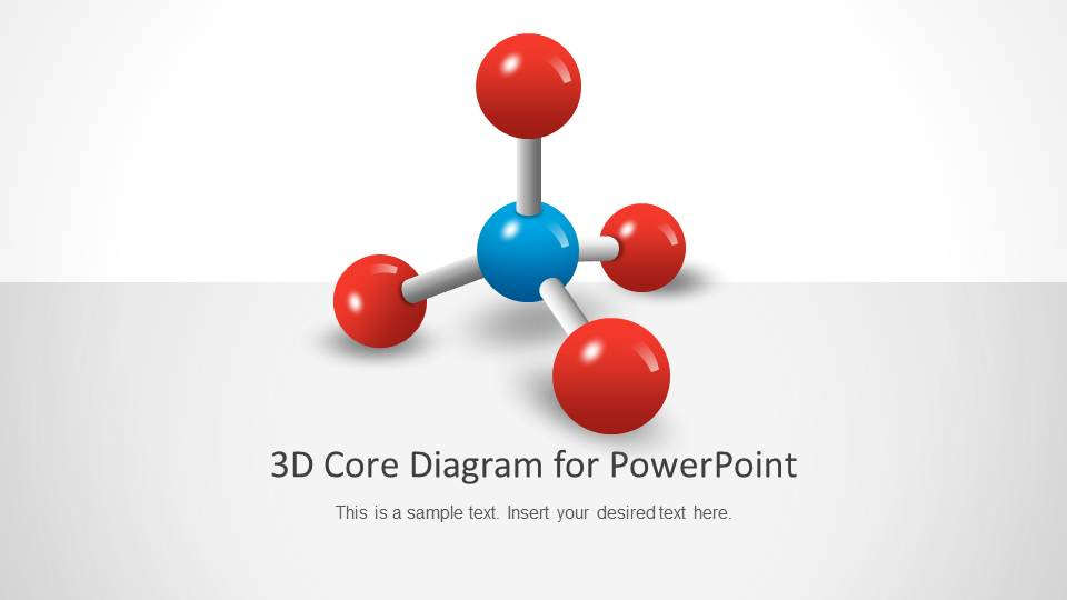 PowerPoint 3D Molecule Diagram With 4 Vertex