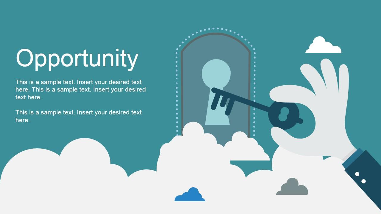 Opportunity Metaphor Unlock Door Clipart SlideModel