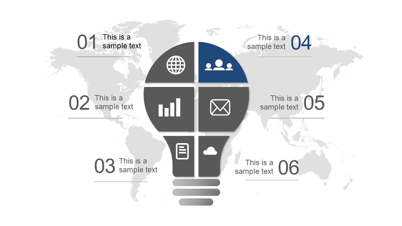 Lightbulb Template Diagram of 6 Steps