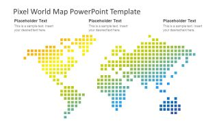 Pixel World Map PowerPoint Template